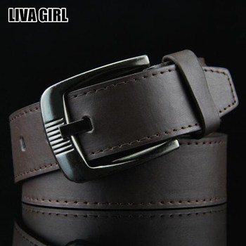 Liva Girl New Hot Male Business Solid Color PU Leather Belts Metal Buckle Male Accessories Luxury Tactical Military Style Casual