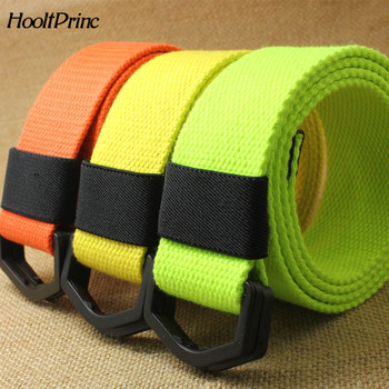 HooltPrinc Fashion Unisex Fabric Webbing Waist Casual D Ring buckle Plain Canvas Belt anti allergy Waistband